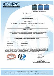 ETS Bio Freeze ISO 13485 Certificate